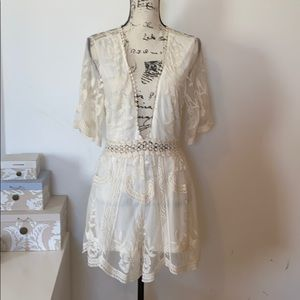 She + Sky Off white lace jumper